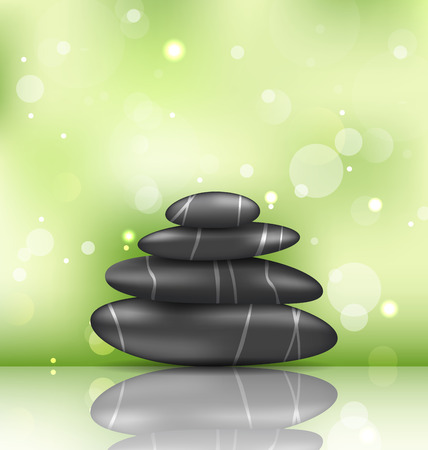 stacked stones: Illustration zen spa background with pyramid stones  Illustration