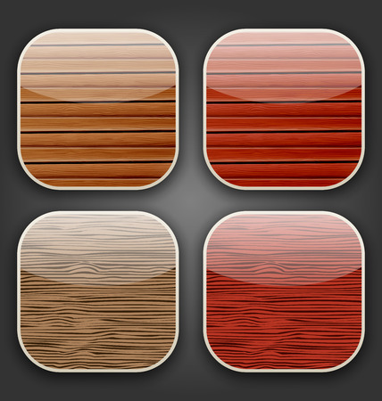 Illustration backgrounds with wooden texture for the app icons - vector Vector