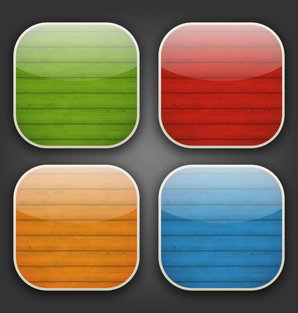 Illustration backgrounds with colorful wooden texture for the app icons - vector Vector