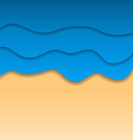 oceanside: Illustration summertime beach background, paper cut style - vector Illustration