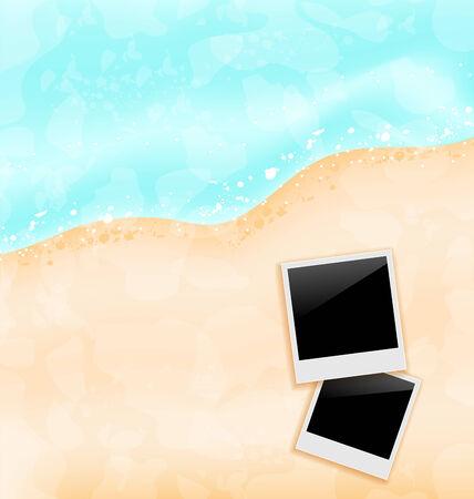 oceanside: Illustration beach background with set photo frames - vector