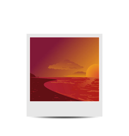 Illustration photoframe with sunset beach background - vector
