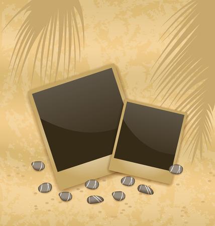 pebbly: Illustration photo card on sand background, old style - vector Illustration