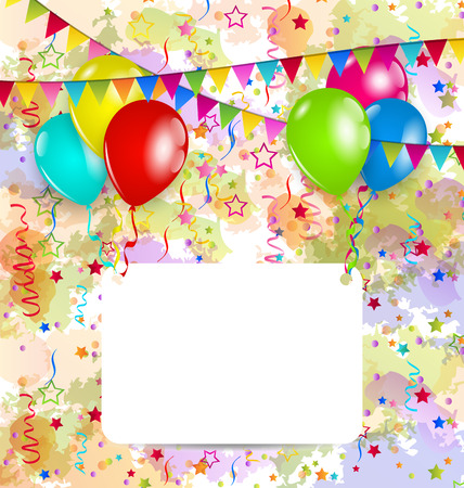 Illustration modern birthday greeting card with balloons and confetti - vector Vector