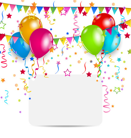 Illustration celebration card with balloons, confetti and hanging flags - vector