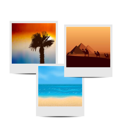 Illustration photoframes with summertime background - vector Vector