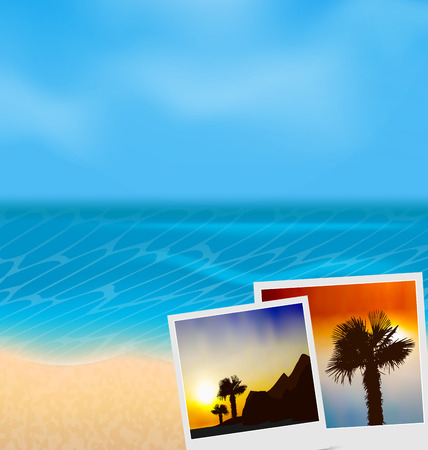 photographies: Illustration set vacation beautiful beach photographies - vector