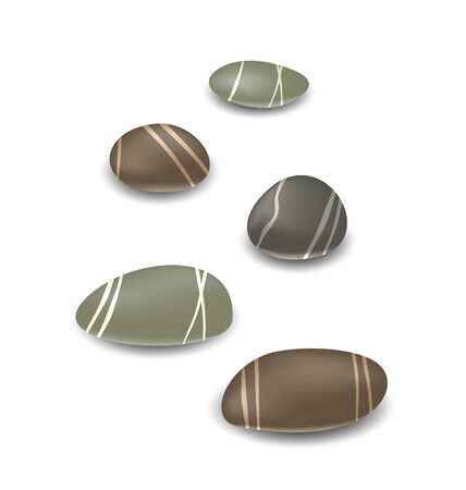 Illustration sea pebbles collection with shadows on white background - vector Vector