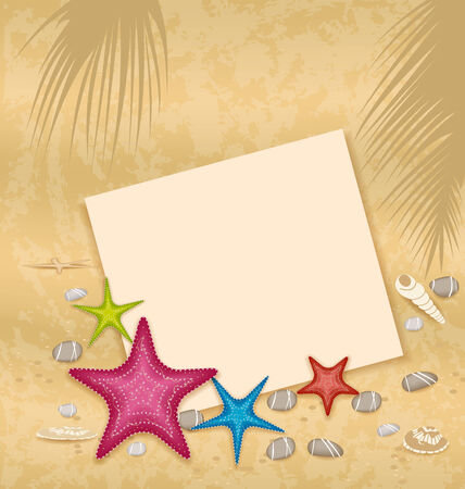 sand background: Illustration sand background with paper card, starfishes, pebble stones, seashells - vector