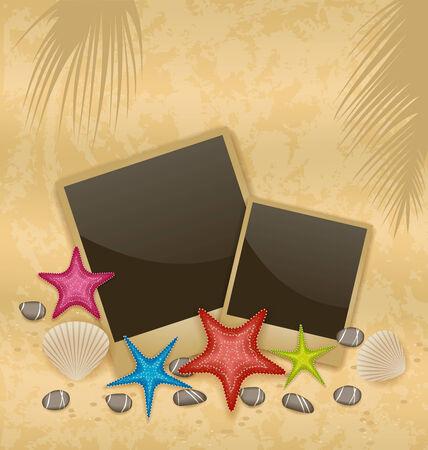 sand background: Illustration sand background with photo frames, starfishes, pebble stones, seashells - vector