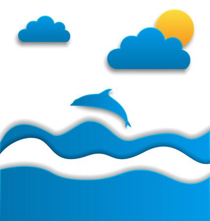 oceanside: Illustration summertime background, paper cut style - vector