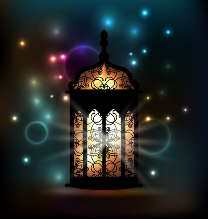 Illustration Arabic lantern with ornamental Pattern for Ramadan Kareem - vector Vector