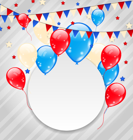 Illustration celebration card with balloons in american flag colors - vector Vector