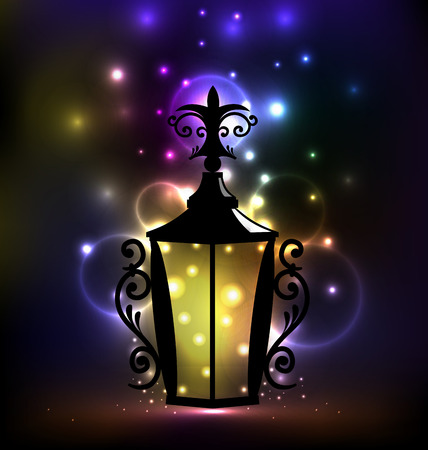 forging: Illustration arabic forging lantern for Ramadan Kareem - vector