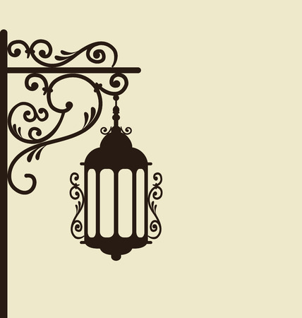 Illustration vintage forging ornate street lantern isolated - vector Vector