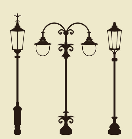 Illustration set of vintage various forged lampposts - vector