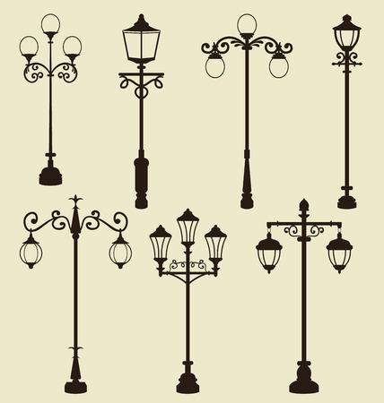 Illustration set of vintage various ornamental streetlamps - vector