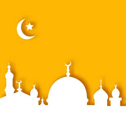 fitr: Illustration Islamic architecture background, Ramadan Kareem - vector
