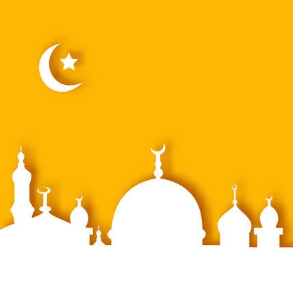 Illustration Islamic architecture background, Ramadan Kareem - vector