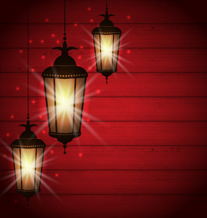 Illustration Arabic lamps for holy month of muslim community - vector Vector