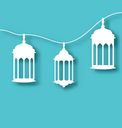 iftar: Illustration paper Arabic lamp with shadow for holy month - vector