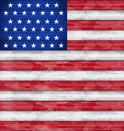 Illustration American Flag for Independence Day, wood texture - vector Vector