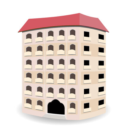 bldg: Illustration multistoried residential house isolated on white background