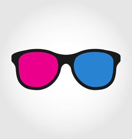 Illustration 3d glasses red and blue on white  background