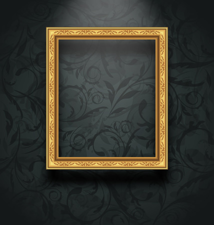 Illustration picture frame on floral texture wall - vector Vector
