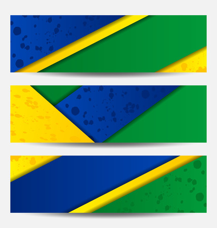 Illustration set football flyers in Brazil flag colors  Vector