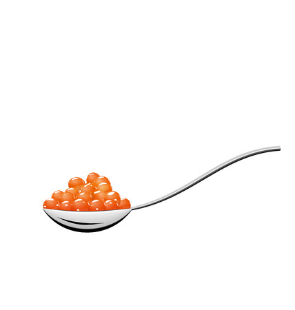 caviar: Illustration teaspoon with red caviar isolated on white background