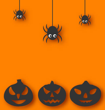 Illustration Halloween background with hanging spiders and pumpkins  Vector