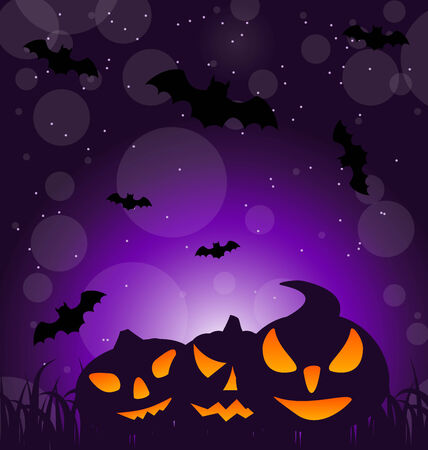 ominous: Illustration Halloween ominous pumpkins on moonlight background