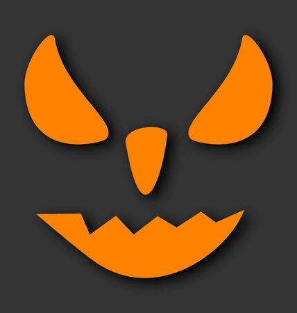 Illustration scary face of Halloween pumpkin on black background  Illustration