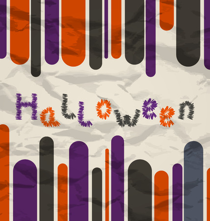 Illustration old colorful poster with text for Halloween