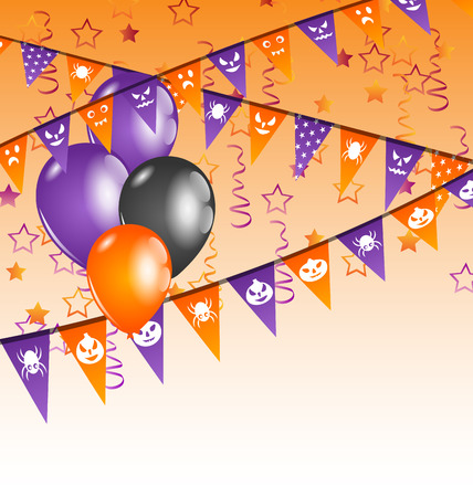 Illustration hanging flags and balloons for Halloween party  Vector