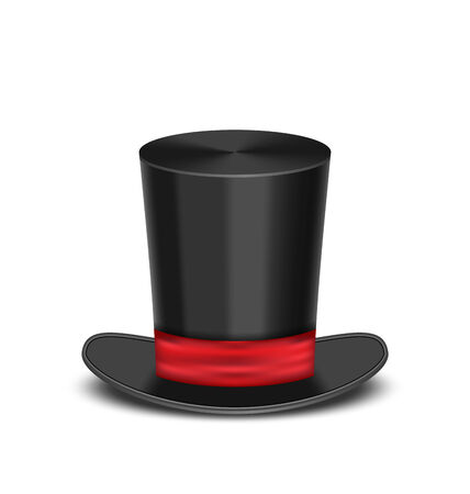 Illustration magic cylinder hat with shadow, isolated on white background  Vector