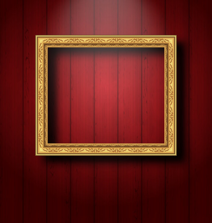 Illustration vintage picture frame on wooden wall  Vector