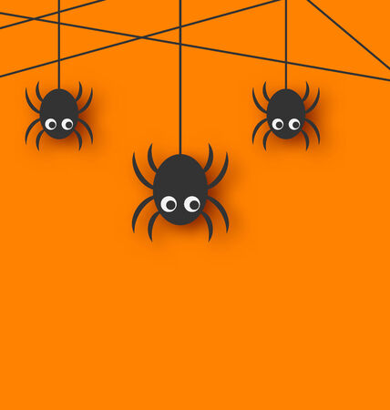 spidery: Illustration cute funny spiders and cobweb  Illustration