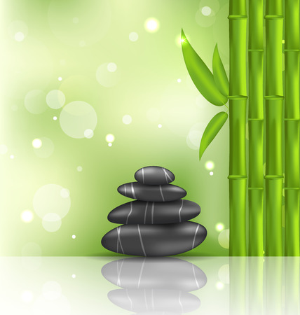 stacked stones: Illustration meditative oriental background with bamboo and heap stones