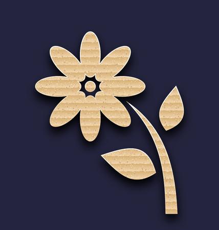 pasteboard: Illustration carton paper flower, handmade background - vector Illustration