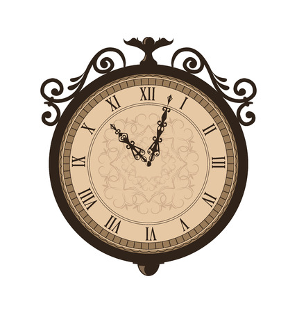 forging: Illustration forging retro clock with vignette arrows, isolated on white background - vector