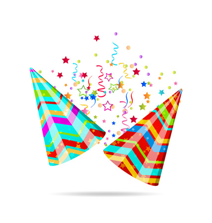 dressing up party: Illustration colorful party hats with confetti for your holiday - vector