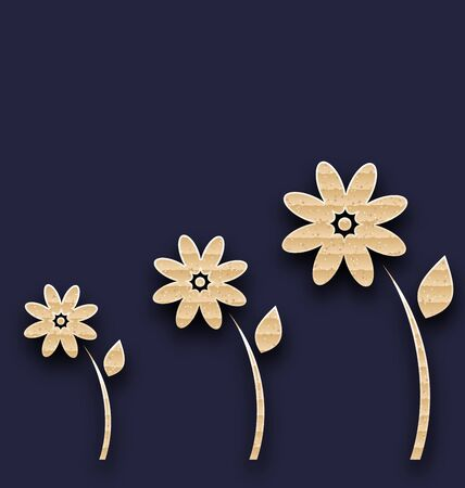 glade: Illustration abstract glade with paper flowers, carton texture - vector