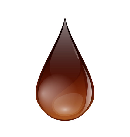 Illustration chocolate or coffee droplet isolated on white background - vector Vector