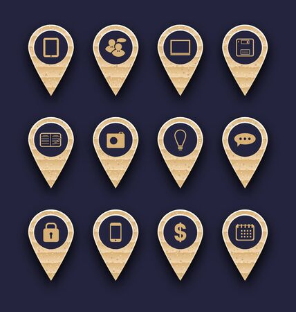 Illustration set business pictogram icons for design your website - vector Vector