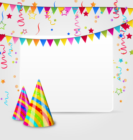 Illustration celebration card with party hats, confetti and hanging flags - vector Vector