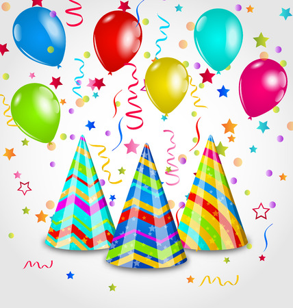 Illustratie, vakantie achtergrond met partij hoeden, kleurrijke ballonnen, confetti - vector