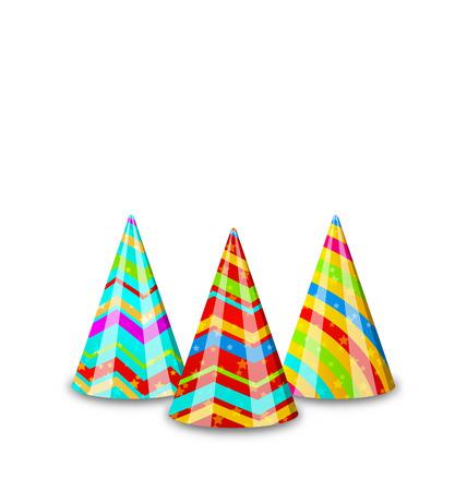 gorros de fiesta: Ilustraci�n colorido sombreros de fiesta para sus vacaciones, aisladas sobre fondo blanco - vector