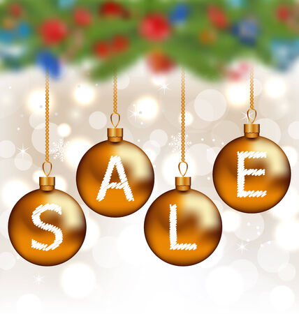 Illustration brown glossy balls with lettering sale, Christmas decoration - vector Vector